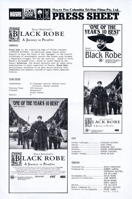 BLACK ROBE Rare AUSTRALIAN Movie Press Sheet