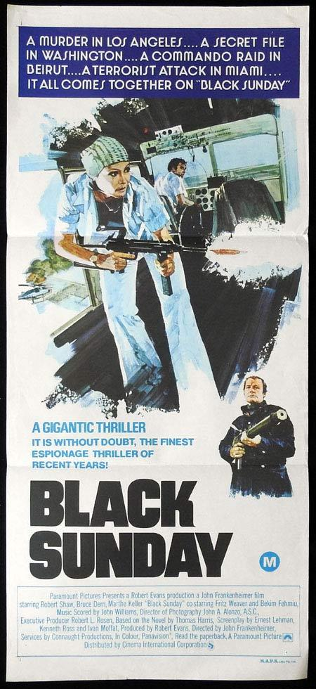 BLACK SUNDAY Original Daybill Movie Poster Robert Shaw Bruce Dern Marthe Keller
