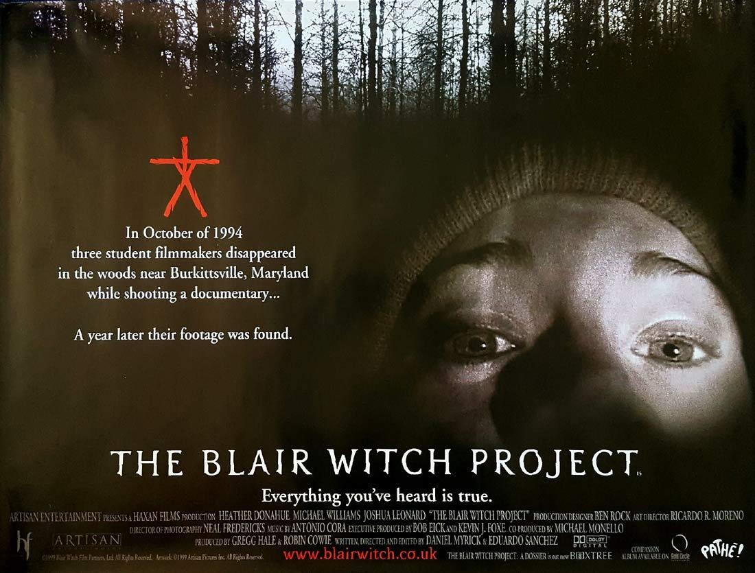 THE BLAIR WITCH PROJECT British Quad Movie poster Heather Donahue Horror