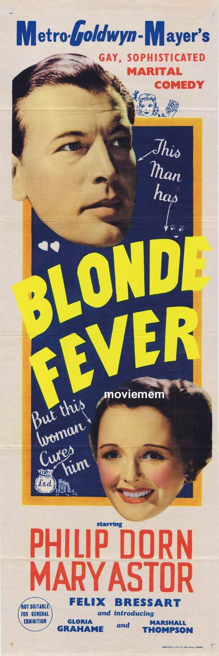 BLONDE FEVER, Original Daybill, Movie Poster, Phillip Dorn, Mary Astor