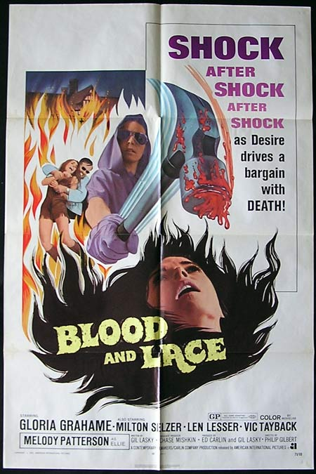 Blood and Lace, Philip S. Gilbert, Milton Selzer, Melody Patterson, Len Lesser, Gloria Grahame, Vic Tayback, Dennis Christopher, Terri Messina, Maggie Corey, Mary Strawberry, Ronald Taft, Peter Armstrong, Louise Sherrill, Joe Durkin