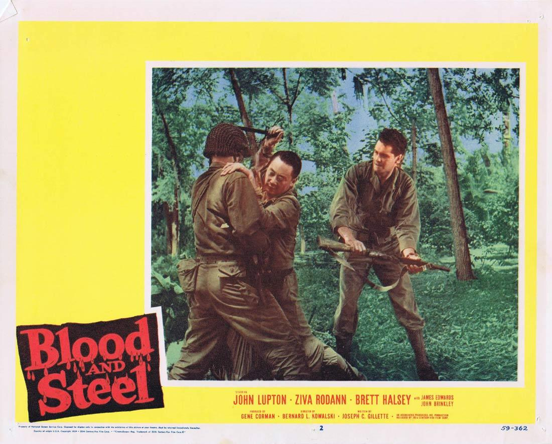 BLOOD AND STEEL Lobby Card 2 John Lupton James Edwards Brett Halsey 1959