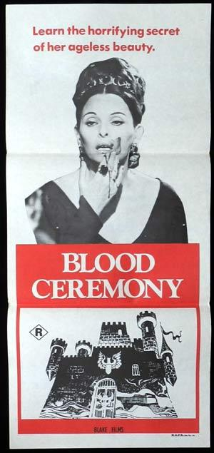 Ceremonia sangrienta (1973) aka Also Known As (AKA) The Legend of Blood Castle, A Força do Diabo,l Blood Castle, Bloody Ceremony, Comtesse des Grauens, Countess Dracula, De dödas slott Sweden, Kauhujen linna, Kuolleitten linna, Le vergini cavalcano la morte, The Bloody Countess, The Female Butcher. 