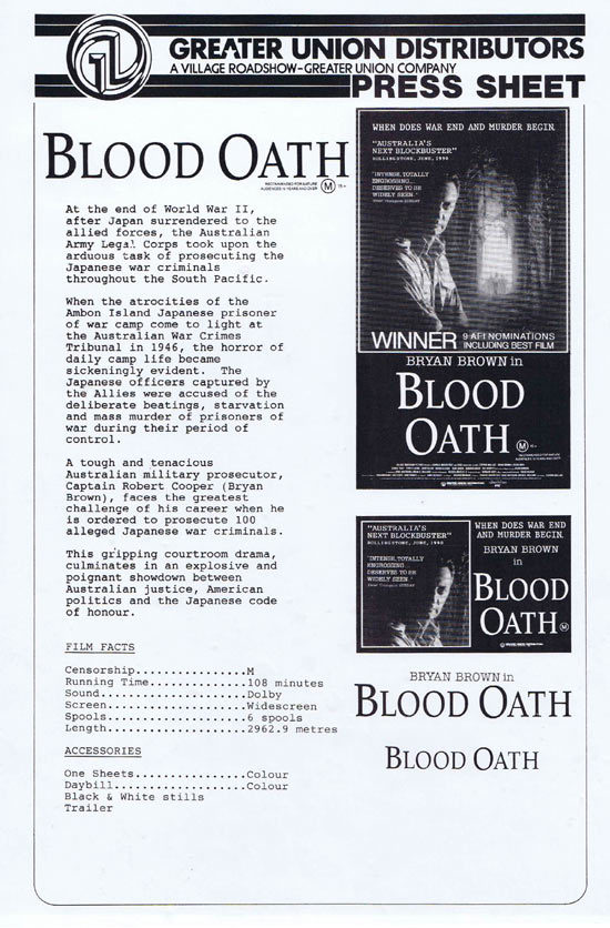 BLOOD OATH Rare AUSTRALIAN Movie Press Sheet