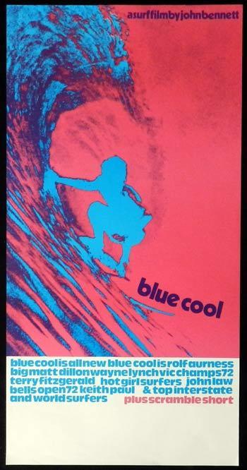 Blue Cool 1972 Rare Vintage Surfing Art Daybill Movie