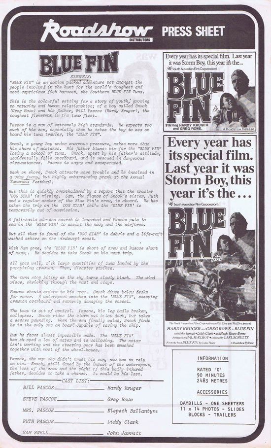 BLUE FIN Rare AUSTRALIAN Movie Press Sheet