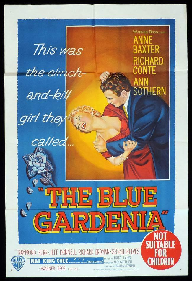 BLUE GARDENIA Original One sheet Movie Poster Anne Baxter Richard Conte