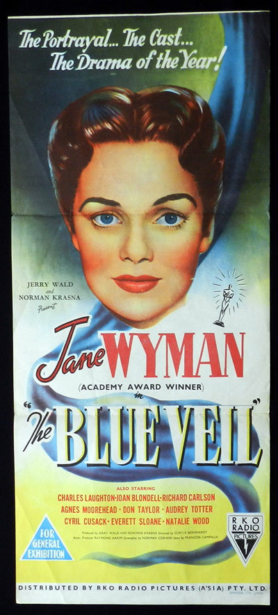The Blue Veil, Curtis Bernhardt, Jane Wyman, Charles Laughton, Joan Blondell, Harry Morgan, Natalie Wood, Daybill, Movie Poster