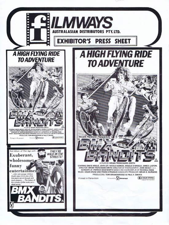 BMX BANDITS 1983 Nicole Kidman AUSTRALIAN Press Sheet