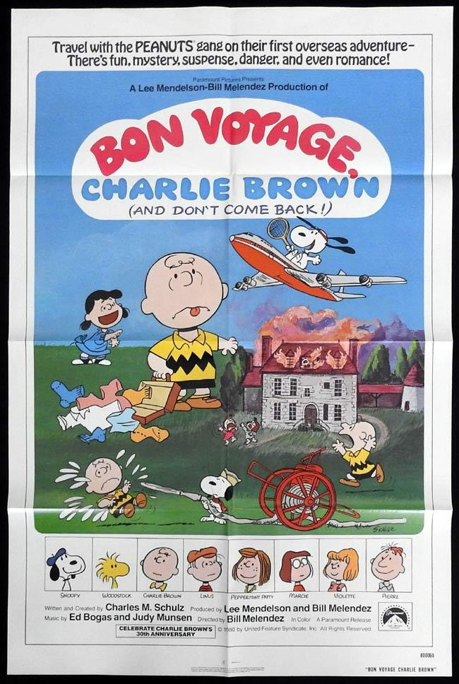 BON VOYAGE CHARLIE BROWN Original One sheet Movie Poster Peanuts Charles Shulz