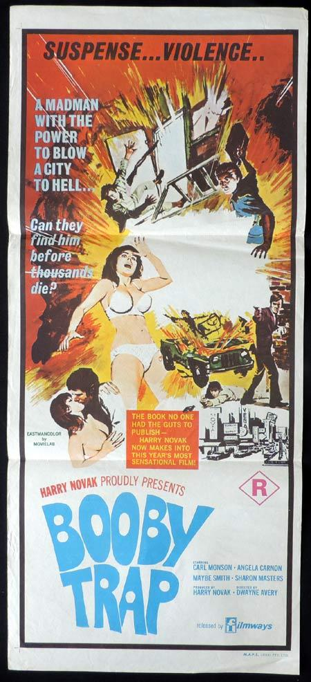 BOOBY TRAP Original daybill Movie Poster Harry Novak Sexploitation Hippies