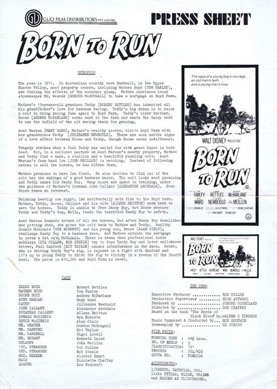 BORN TO RUN Rare AUSTRALIAN Movie Press Sheet Harness Racing
