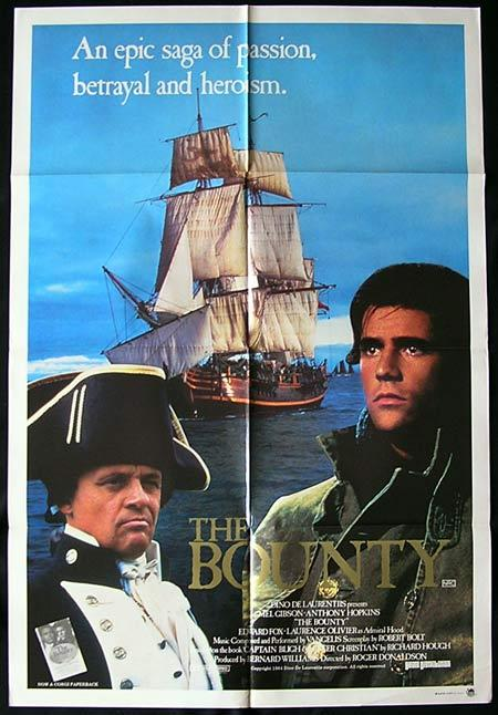 THE BOUNTY '84 Mel Gibson Anthony Hopkins One Sheet movie poster