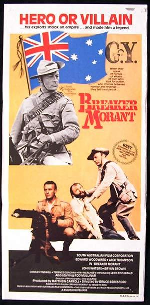 Breaker Morant, Daybill, Movie poster, Bruce Beresford, Edward Woodward, Jack Thompson, John Waters, Bryan Brown, Lewis Fitz-Gerald, Bud Tingwell, Ray Meagher, Rod Mullinar