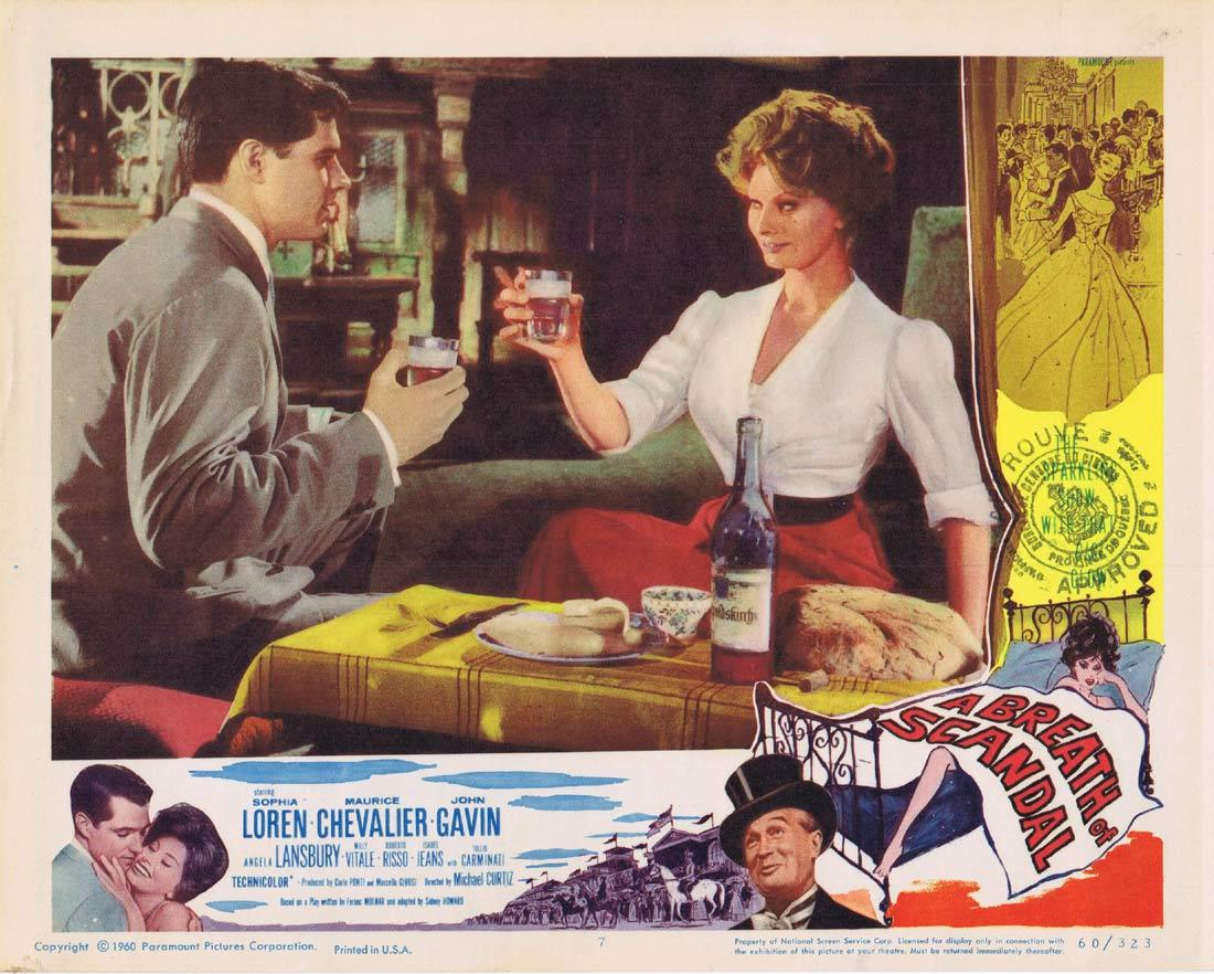A BREATH OF SCANDAL Lobby Card 7 Sophia Loren Maurice Chevalier John Gavin