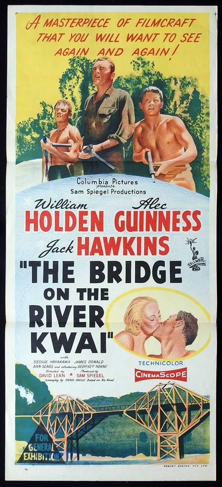 THE BRIDGE ON THE RIVER KWAI Original Daybill Movie Poster Alec Guinness