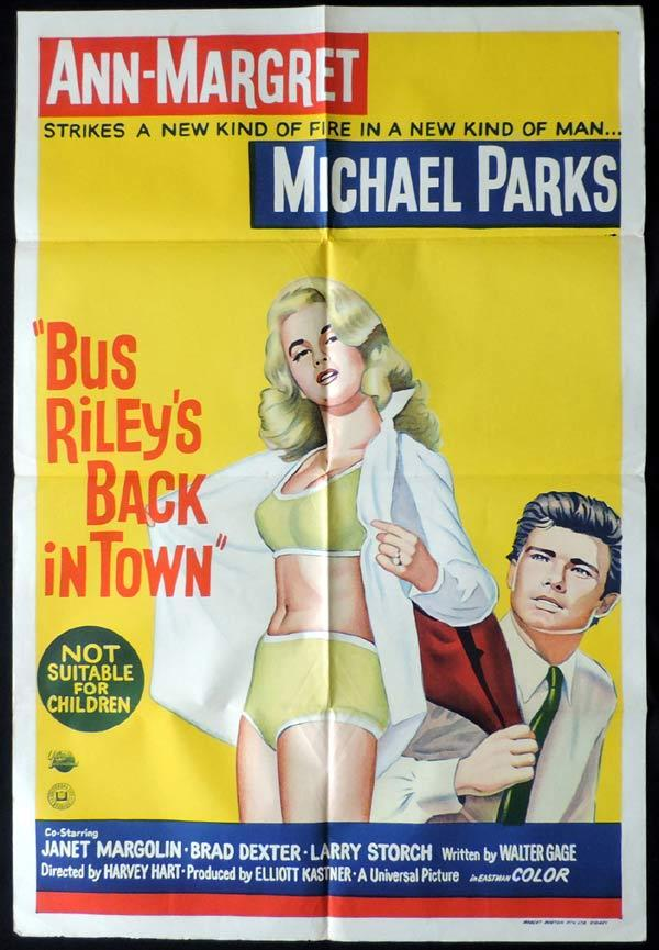 BUS RILEY'S BACK IN TOWN One Sheet Movie Poster Paul Douglas Grace Kelly