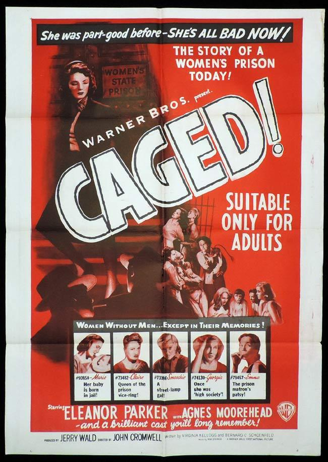 CAGED, Original One sheet, Movie Poster, Eleanor Parker, WOMEN'S PRISON, Agnes Moorehead,