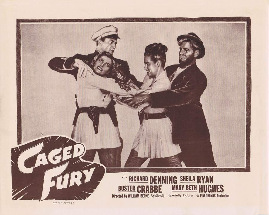 CAGED FURY Lobby Card 3 Richard Denning LION TAMER Buster Crabbe