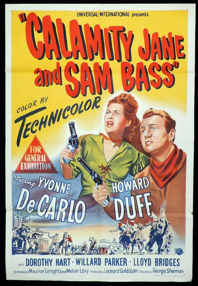 CALAMITY JANE AND SAM BASS Original One sheet Movie Poster Yvonne DeCarlo Howard Duff
