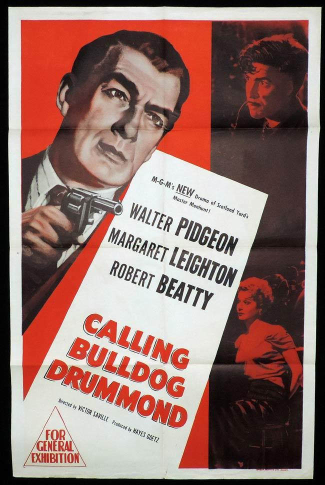 CALLING BULLDOG DRUMMOND, Original One sheet, Movie Poster, WALTER PIDGEON, Margaret Leighton