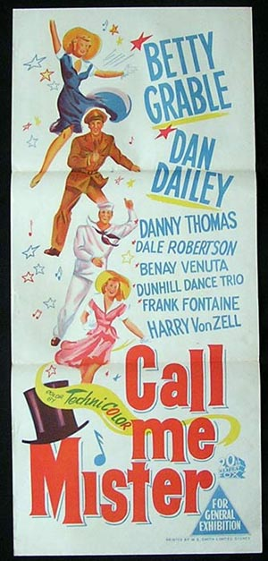 CALL ME MISTER Movie Poster 1951 Betty Grable ORIGINAL daybill