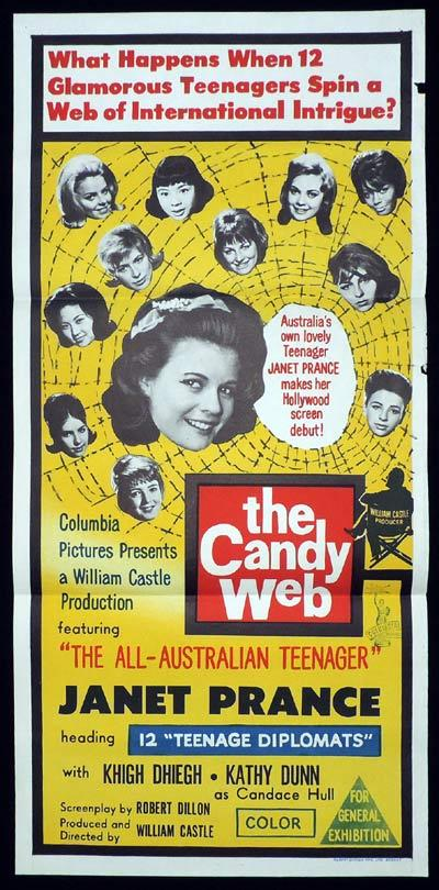 THE CANDY WEB aka 13 FRIGHTENED GIRLS Daybill Movie poster Australia's Janet Prince William Castle