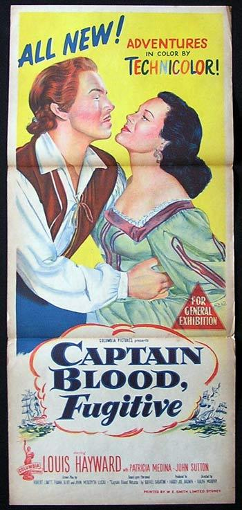 CAPTAIN BLOOD FUGITIVE aka CAPTAIN PIRATE Movie poster 1952 Louis Hayward