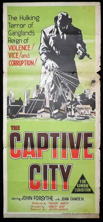 THE CAPTIVE CITY Daybill Movie Poster John Forsythe FILM NOIR