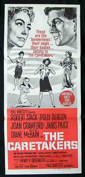 THE CARETAKERS 1963 Joan Crawford RARE Daybill Movie Poster