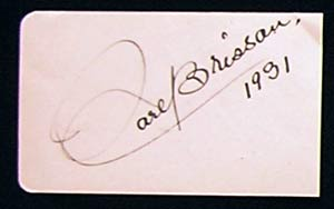 CARL BRISSON (Star of Hitchcock's The Ring) Autograph