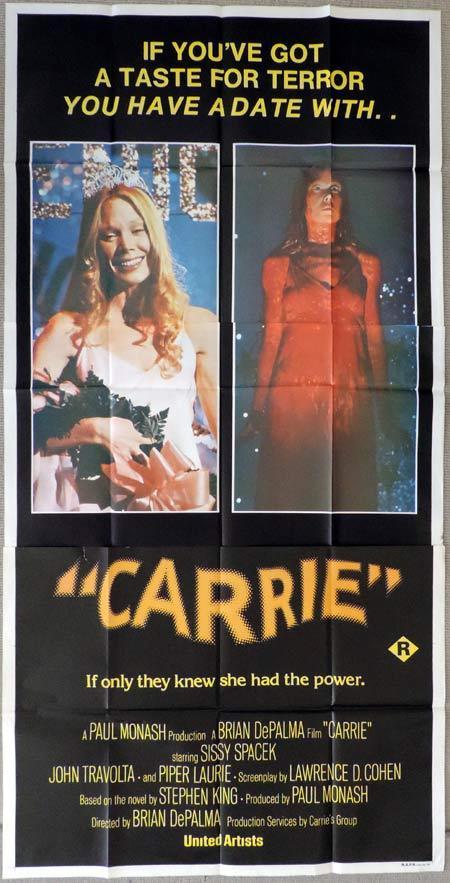 Carrie Original 3 Sheet Movie Poster Sissy Spacek Horror