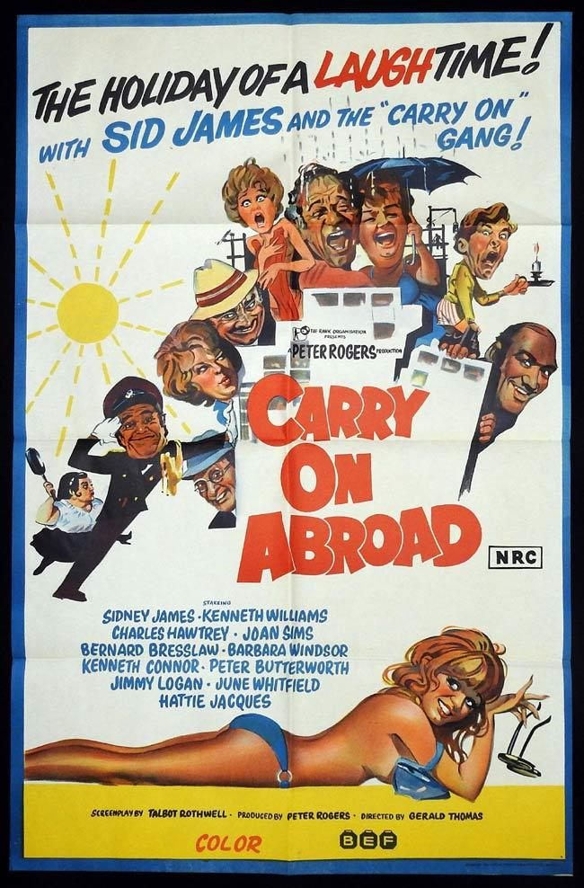 CARRY ON ABROAD Original One sheet Movie Poster Sid James Kenneth Williams Charles Hawtrey
