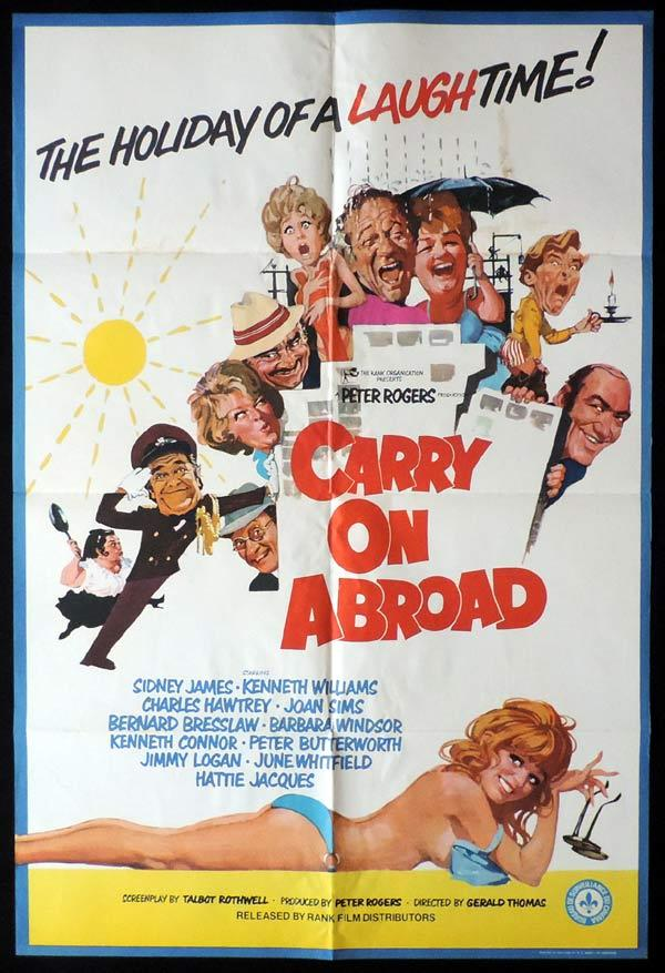 Carry On Abroad, Gerald Thomas, Kenneth Williams, Sid James, Kenneth Connor, Bernard Bresslaw, Barbara Windsor, Joan Sims, Hattie Jacques, Ray Brooks, Jimmy Logan, Peter Butterworth, Charles Hawtrey, June Whitfield, Sally Geeson, Carol Hawkins, Jack Douglas, John Clive, Harry Fielder, Gail Grainger