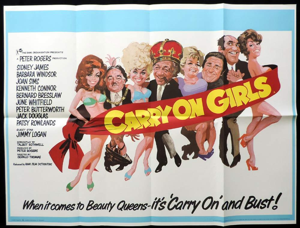 CARRY ON GIRLS British Quad Movie poster Sid James Arnaldo Putzu art