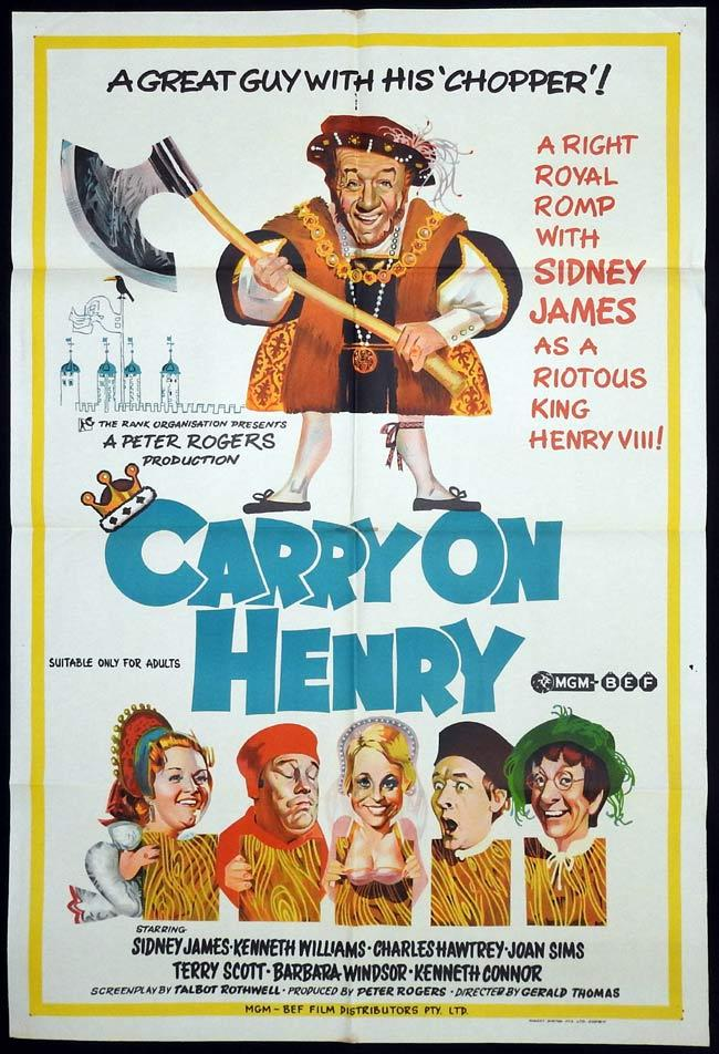 CARRY ON HENRY Original One sheet Movie Poster Sid James Kenneth Williams Charles Hawtrey