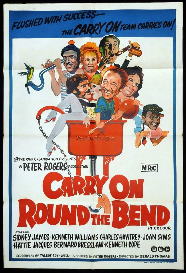 CARRY ON ROUND THE BEND Original One sheet Movie Poster Sid James Kenneth Williams Charles Hawtrey