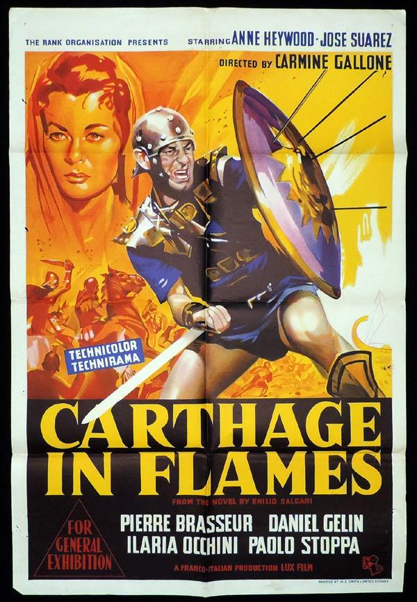 CARTHAGE IN FLAMES One Sheet Movie Poster Pierre Brasseur Sword and Sandal