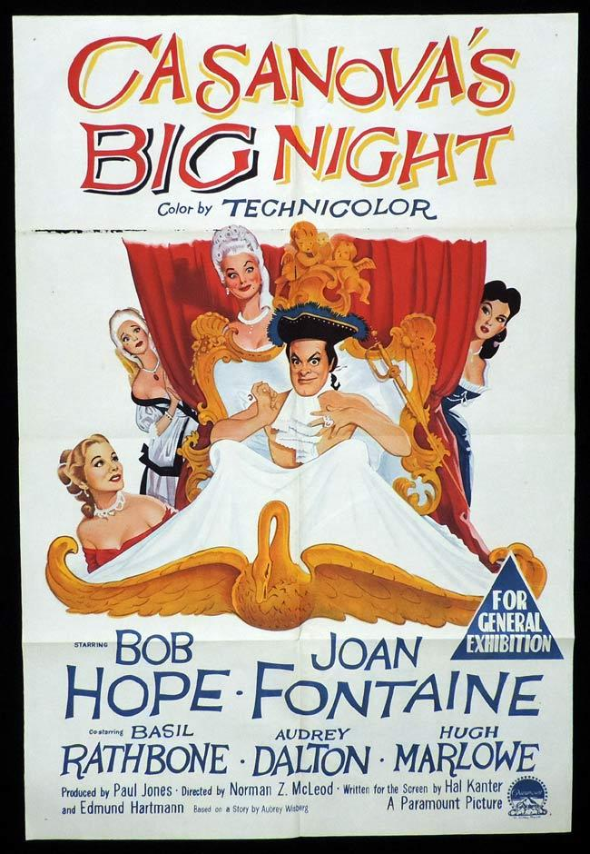 CASANOVA'S BIG NIGHT Original One sheet Movie Poster BOB HOPE Joan Fontaine