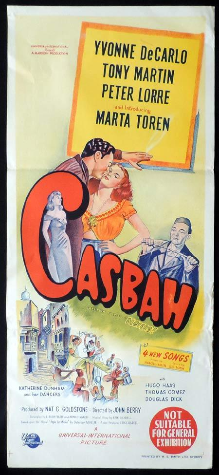 CASBAH Original Daybill Movie Poster Yvonne De Carlo Peter Lorre