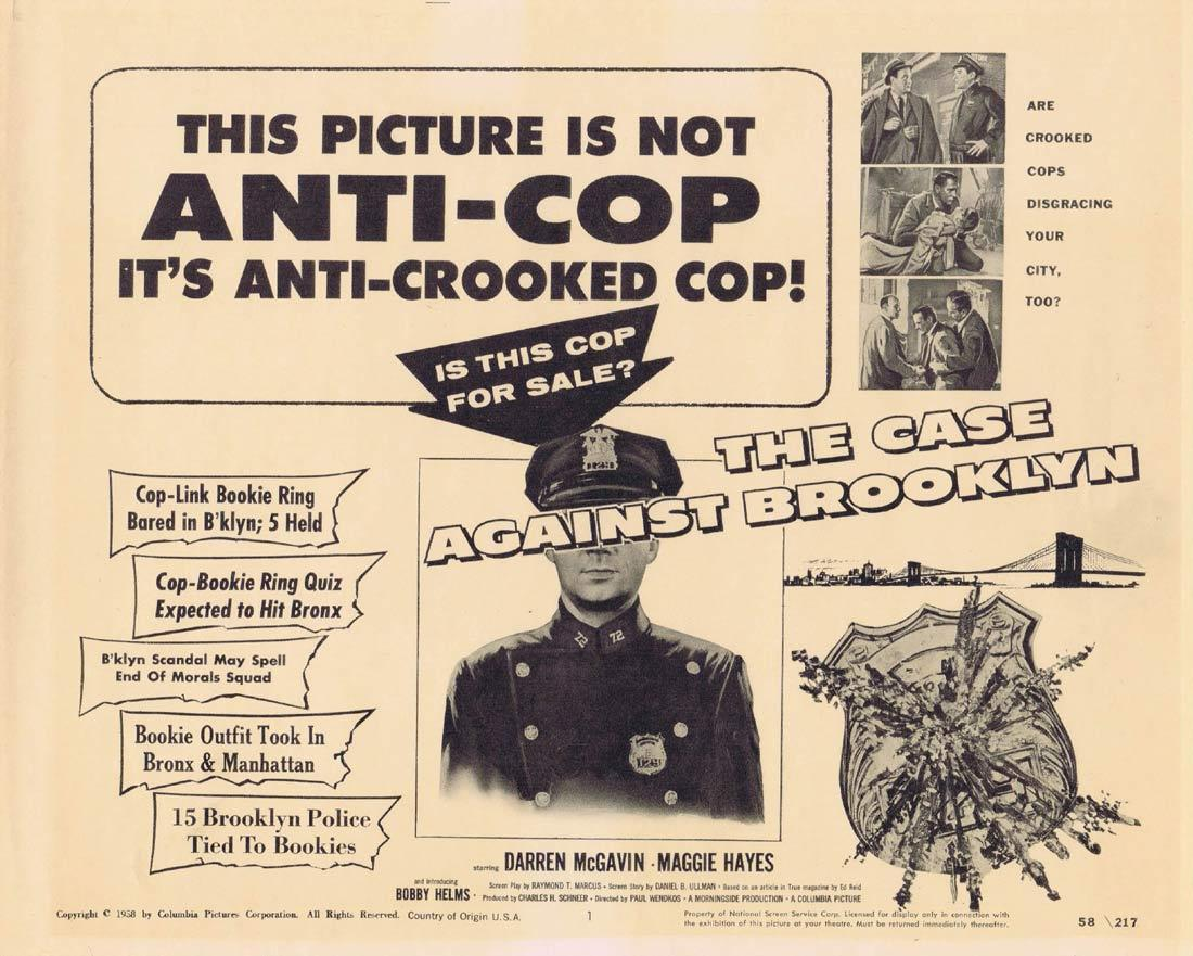THE CASE AGAINST BROOKLYN Lobby Card Darren McGavin Crooked Cops