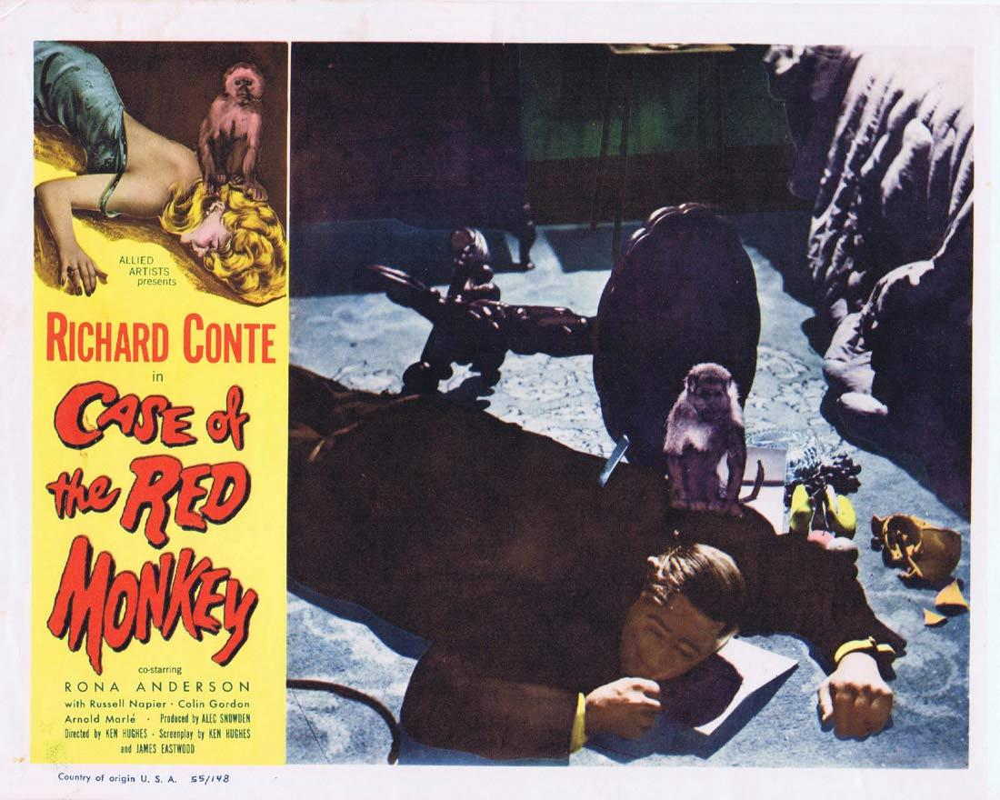 CASE OF THE RED MONKEY Lobby Card 2 Richard Conte Rona Anderson Russell Napier