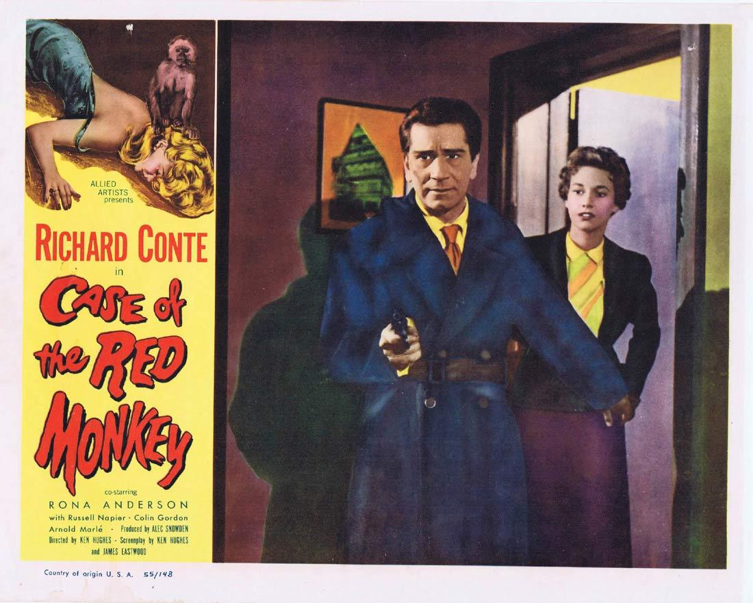 CASE OF THE RED MONKEY Lobby Card 3 Richard Conte Rona Anderson Russell Napier