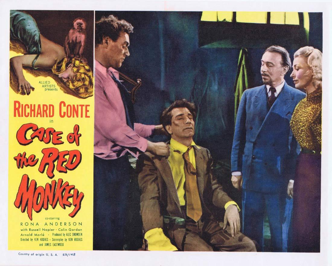 CASE OF THE RED MONKEY Lobby Card 5 Richard Conte Rona Anderson Russell Napier