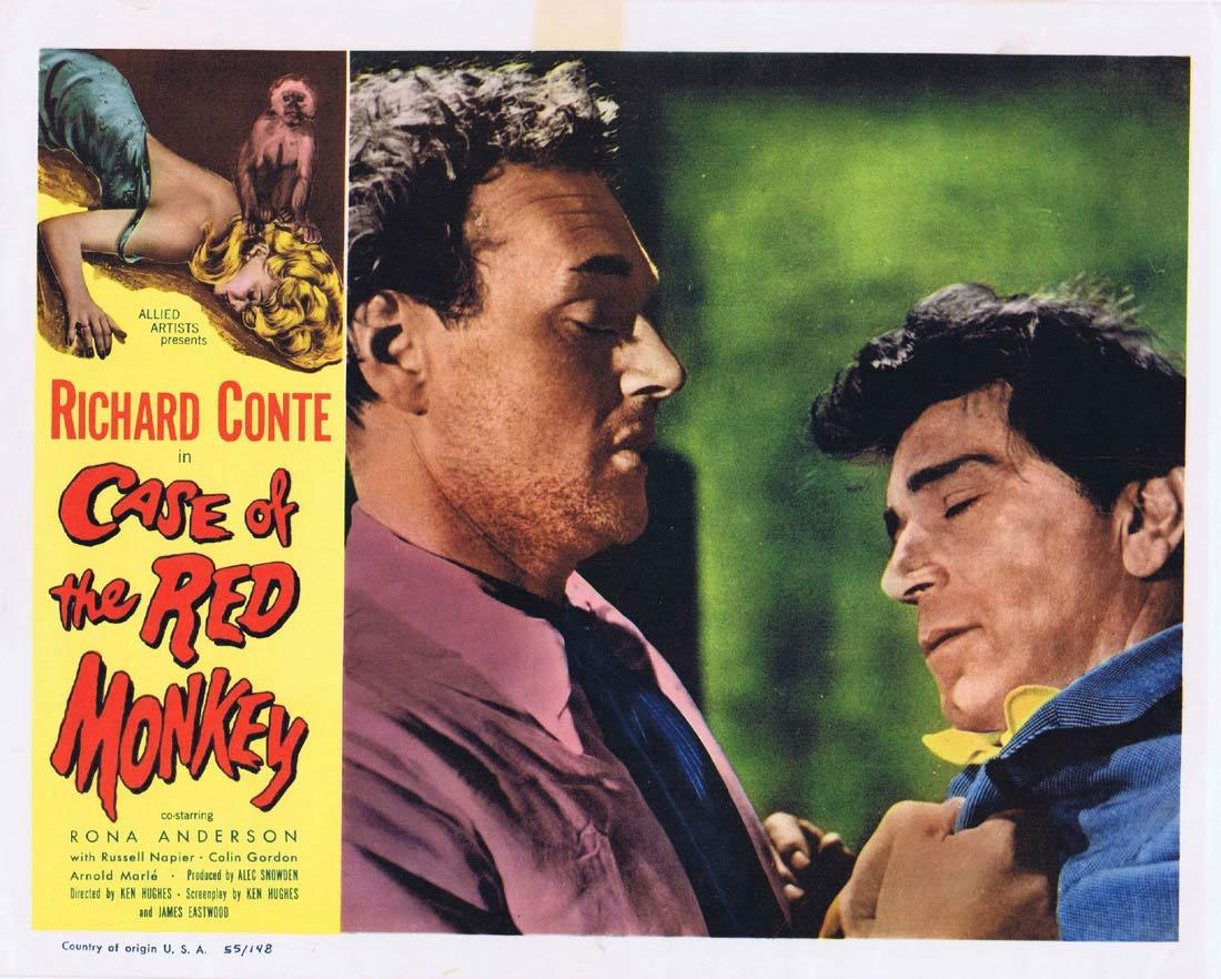 CASE OF THE RED MONKEY Lobby Card 6 Richard Conte Rona Anderson Russell Napier