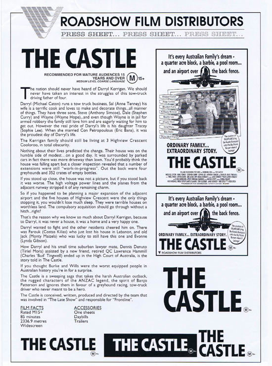THE CASTLE Rare AUSTRALIAN Movie Press Sheet