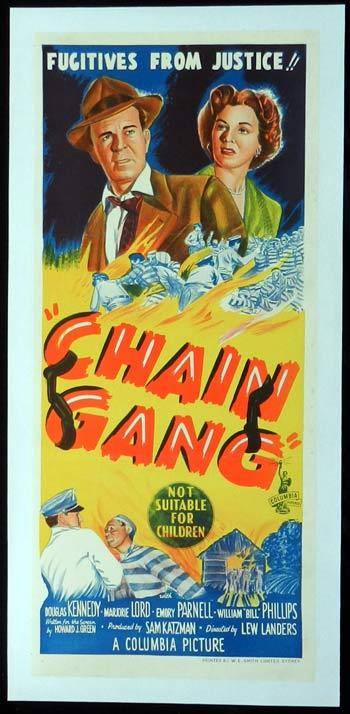 CHAIN GANG 1950 Film Noir RARE ORIGINAL LINEN BACKED Australian Daybill Movie poster
