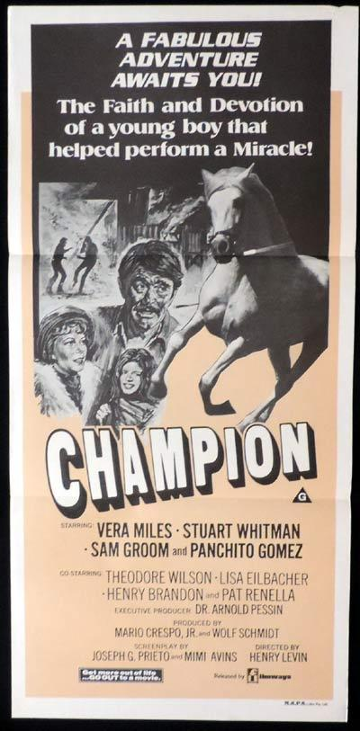 CHAMPION aka RUN FOR THE ROSES daybill Movie poster Horse Racing Vera Miles