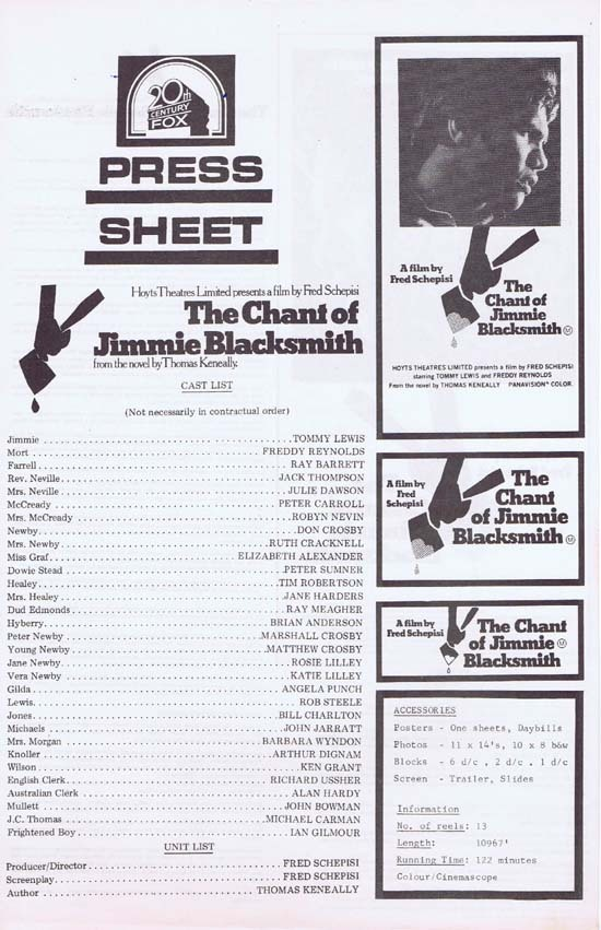 CHANT OF JIMMIE BLACKSMITH Press Sheet 1978 Fred Schepisi ABORIGINAL Country of Origin
