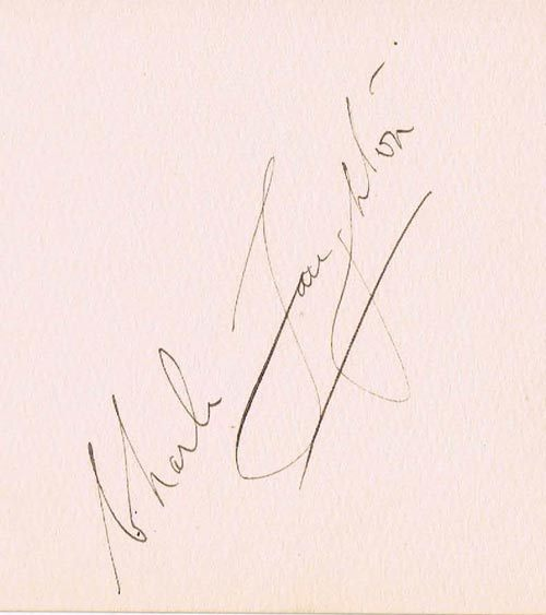 CHARLES LAUGHTON Autograph on an Album Page